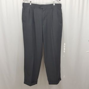 Perry Ellis gray pleated cuffed dress pants
